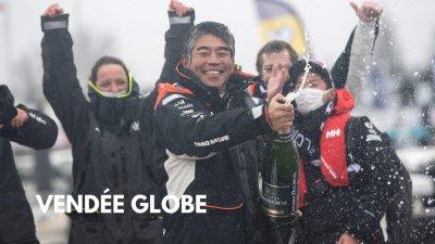 Vendée Globe : Arrivées aux Sables d'Olonne d'Arnaud Boissières et Kojiro Shiraishi