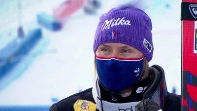 Cortina 2021 - La joie de Tessa Worley, médaillée de bronze en ski parallèle