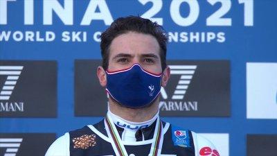 Cortina 2021 - Slalom parallèle hommes : la Marseillaise en l'honneur de Mathieu Faivre