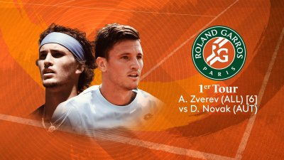 A.Zverev (ALL) vs D.Novak (AUT) - 1er tour - Court Philippe-Chatrier